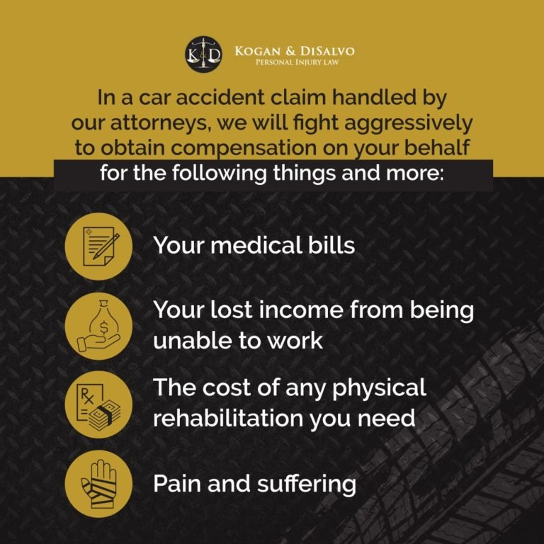 car accident claim medical bills, lost income, physical rehabilitation, pain and suffering