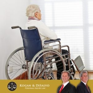 elderly man sitting in a wheelchair in nursing home in florida with attorney