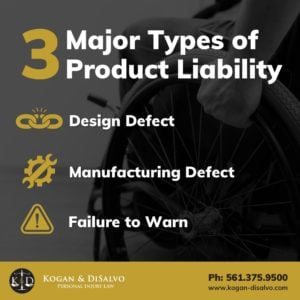 types of product liability design defect, manufacturing defect, failure to warn